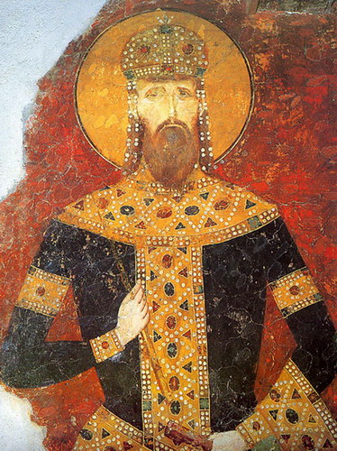 The fresco of king Milutin, Bogorodica Ljeviška (Our Lady of Ljevish), Kosovo and Metohia, Serbia