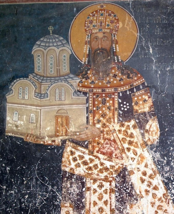 The fresco of king Stefan Milutin, King`s Church in Studenica, Serbia