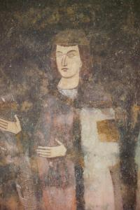 The fresco of young Milutin, Sopocani, Serbia